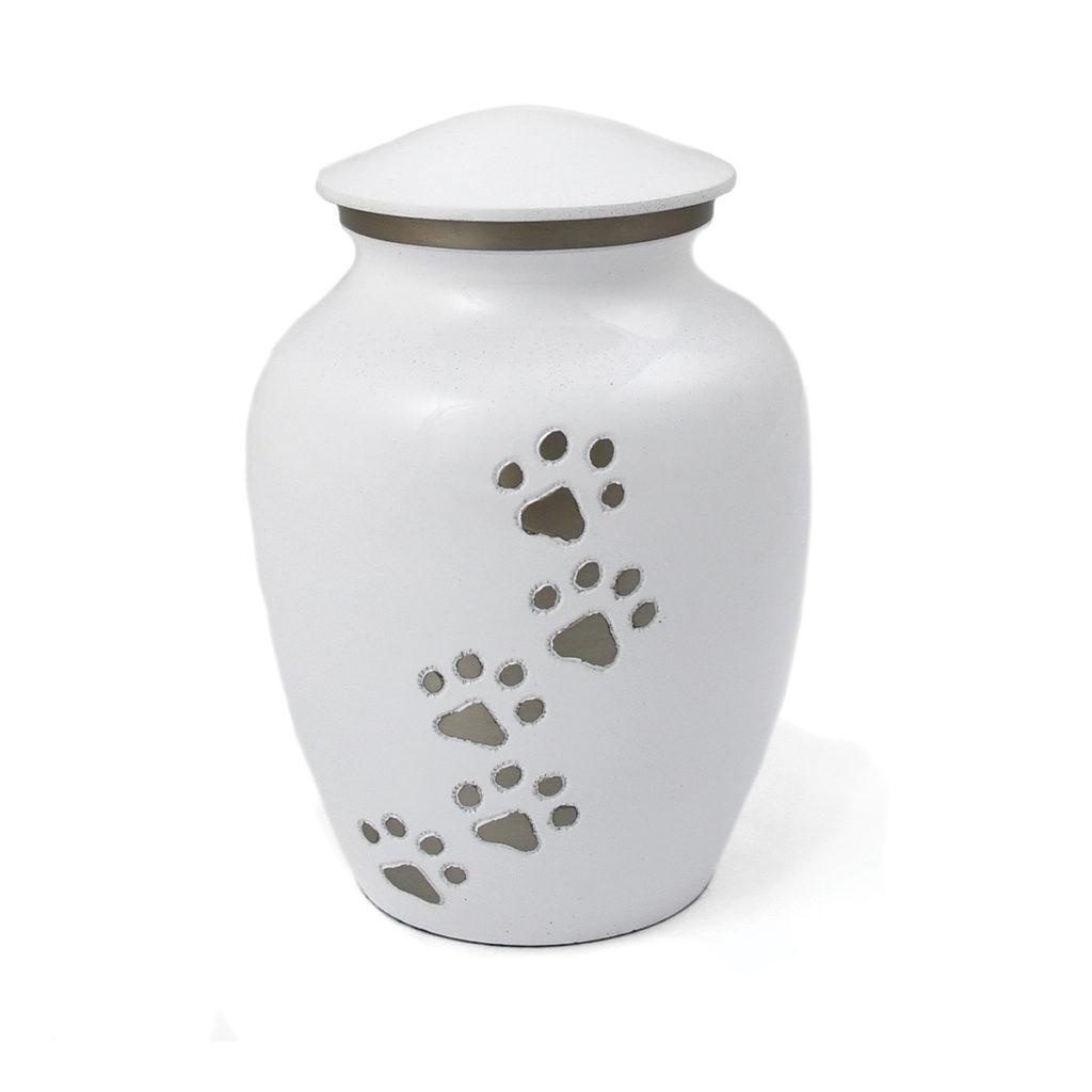 White Metal Pet Urn